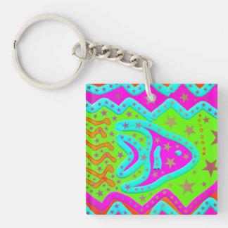 Fun Aquatic Fish Stars Colorful Kids Doodle Keychain