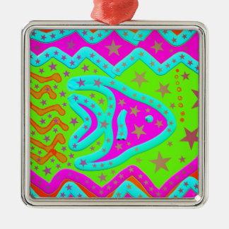 Fun Aquatic Fish Stars Colorful Kids Doodle Metal Ornament