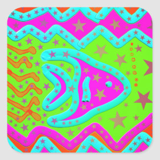 Fun Aquatic Fish Stars Colorful Kids Doodle Stickers