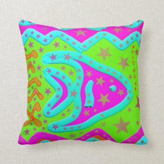 Fun Aquatic Fish Stars Colorful Kids Doodle Throw Pillow