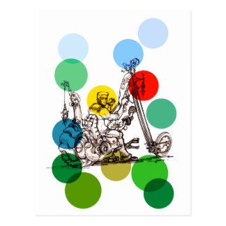 Fun Art Drawing of a Fantasy Motorcycle Man Postcard