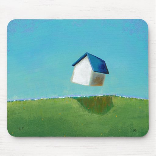 Fun art flying house Meet Me in St. Louis painting Mouse Pad