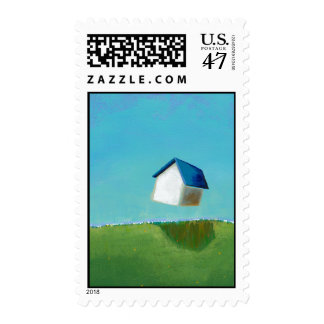 Fun art flying house Meet Me in St. Louis painting Postage