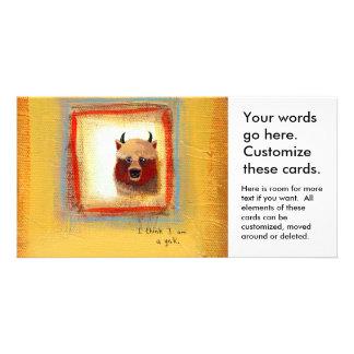 Fun art yak identity crisis silly cute painting photo card