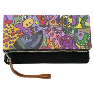 Fun Artistic Animals Abstract Art Clutch Bag
