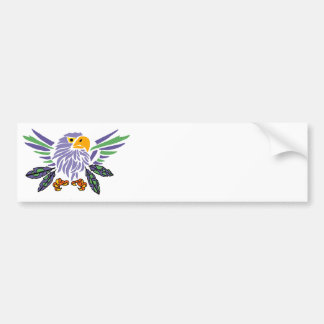 Fun Artistic Eagle and Feathers Abstract Art Bumper Sticker