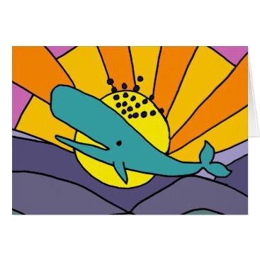 Beach Themed Fun Artistic Whale and Sun Abstract Art Card