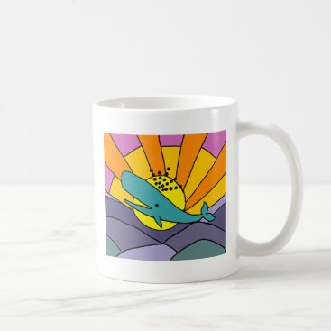 Beach Themed Fun Artistic Whale and Sun Abstract Art Coffee Mug