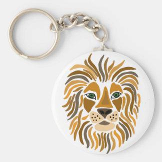 Fun Artsy Lion Abstract Art Keychain