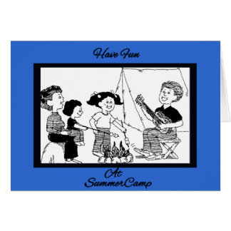 Fun At Summer Camp B&W Drawing Greeting Card