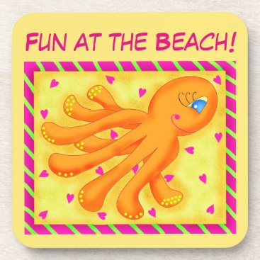 Beach Themed Fun at the Beach Whimsy Octopus Yellow Orange Beverage Coaster