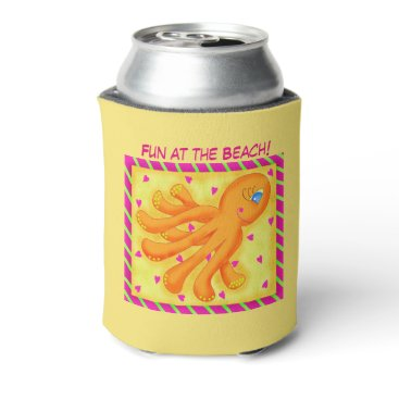 Beach Themed Fun at the Beach Whimsy Octopus Yellow Orange Can Cooler