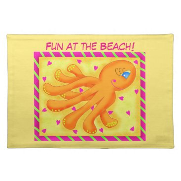 Beach Themed Fun at the Beach Whimsy Octopus Yellow Orange Cloth Placemat