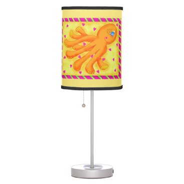 Beach Themed Fun at the Beach Whimsy Octopus Yellow Orange Desk Lamp