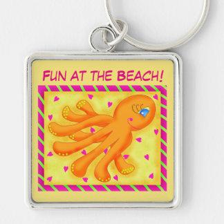 Fun at the Beach Whimsy Octopus Yellow Orange Keychain