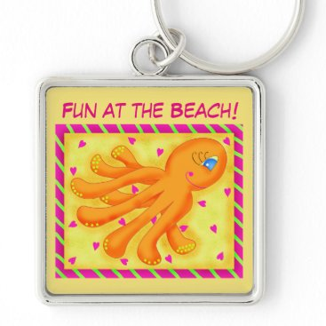 Beach Themed Fun at the Beach Whimsy Octopus Yellow Orange Keychain