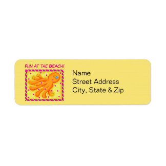 Fun at the Beach Whimsy Octopus Yellow Orange Label