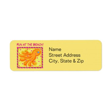 Beach Themed Fun at the Beach Whimsy Octopus Yellow Orange Label