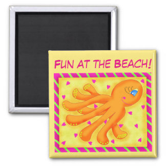 Fun at the Beach Whimsy Octopus Yellow Orange 2 Inch Square Magnet
