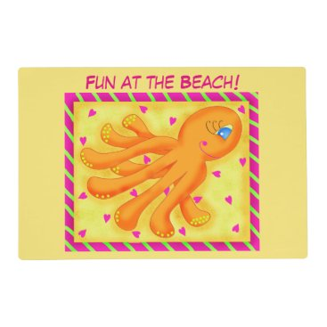 Beach Themed Fun at the Beach Whimsy Octopus Yellow Orange Placemat