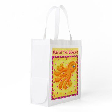 Beach Themed Fun at the Beach Whimsy Octopus Yellow Orange Reusable Grocery Bag