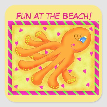 Beach Themed Fun at the Beach Whimsy Octopus Yellow Orange Square Sticker