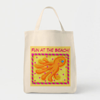 Fun at the Beach Whimsy Octopus Yellow Orange Tote Bag
