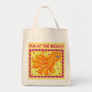 Beach Themed Fun at the Beach Whimsy Octopus Yellow Orange Tote Bag
