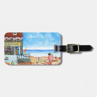 Fun at the seaside British seaside panting Luggage Tag