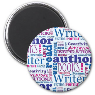 Fun Authors Pattern 2 Inch Round Magnet