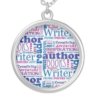 Fun Authors Pattern Round Pendant Necklace