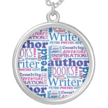 Fun Authors Pattern Silver Plated Necklace