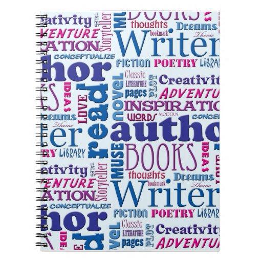 Fun Authors Pattern Spiral Notebook