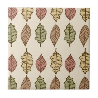 Fun Autumn Leaves Pattern Tile