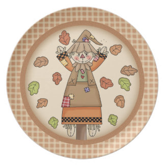 Fun Autumn or Fall Scarecrow on Plaid Pattern Party Plate