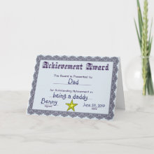 Fun Award Father's Day Card - Fun customizable achievement award card just for dads. Great way to show dad you love him by giving him this award Father's day card. Customize the text fields to say anything you want.