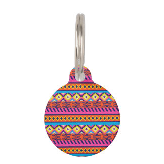 Fun Aztec Tribal Borders Pet Tag