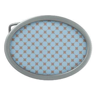 Fun Baby Blue Tan Polka Dot Pattern Gifts Oval Belt Buckle
