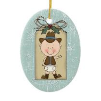 Fun Baby Boy Toddler Child Cowboy Gift Tag Ceramic Ornament