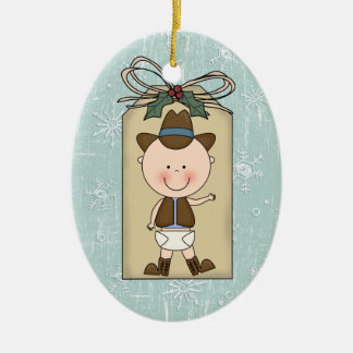 Fun Baby Boy Toddler Child Cowboy Gift Tag Double-Sided Oval Ceramic Christmas Ornament
