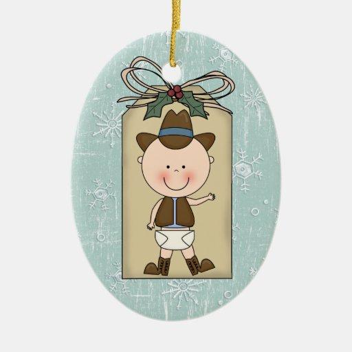 Fun Baby Boy Toddler Child Cowboy Gift Tag Christmas Tree Ornament