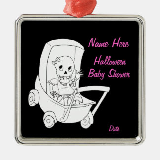Fun Baby Girl Skeleton Baby Shower Ornament