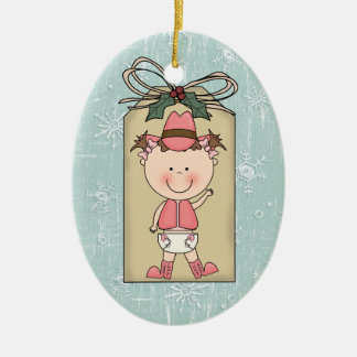Fun Baby Girl Toddler Child Cowgirl Gift Tag Ceramic Ornament