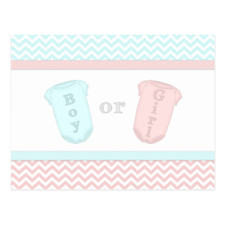 Fun Baby One Piece Pink and Blue Gender Reveal Postcard