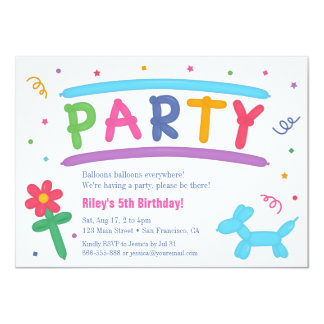 Fun Balloon Art Kids Birthday Party Invitations