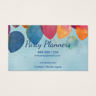 Girly event planning business cards page 1 girly business cards fun balloon party or event planners business card colourmoves