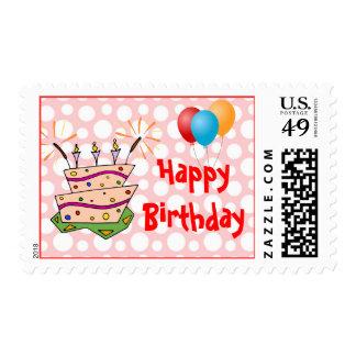 Fun Balloons and Happy Birthday Polka Dot Cake Stamps