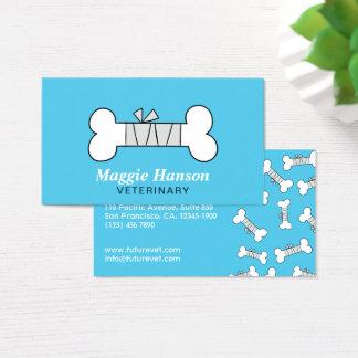Fun Bandaged Bone Blue Veterinary Clinic Business Card