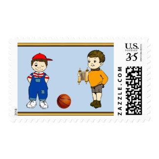 Fun Bar-Mitzvah Stamps with Tora and Basketball