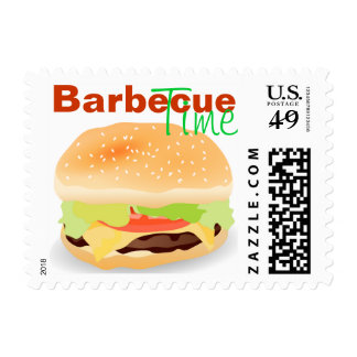 Fun Barbecue Hamburger Stamp